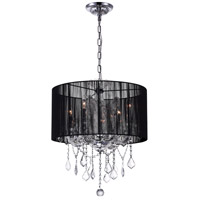CWI Lighting 8397P20C-4-(CLEAR+BLACK) Maria Theresa 4 Light 20 inch Chrome Chandelier Ceiling Light