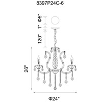 CWI Lighting 8397P24C-6(CLEAR) Maria Theresa 6 Light 24 inch Chrome Up Chandelier Ceiling Light