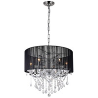 CWI Lighting 8397P27C-6-(CLEAR+BLACK) Maria Theresa 6 Light 27 inch Chrome Chandelier Ceiling Light