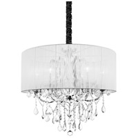 CWI Lighting 8397P27C-6-(CLEAR+WHITE) Maria Theresa 6 Light 27 inch Chrome Chandelier Ceiling Light