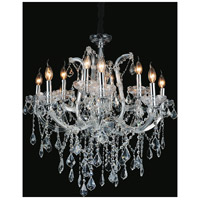 CWI Lighting 8397P30C-12-(CLEAR) Maria Theresa 12 Light 30 inch Chrome Chandelier Ceiling Light