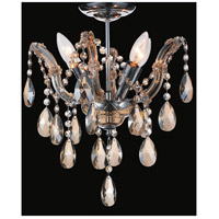 CWI Lighting 8418C14C-4(COGNAC) Payton 4 Light 14 inch Chrome Flush Mount Ceiling Light
