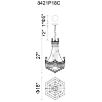 CWI Lighting 8421P18C Amanda 10 Light 18 inch Chrome Down Chandelier Ceiling Light