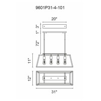 CWI Lighting 9601P31-4-101 Alyson 4 Light 31 inch Black Chandelier Ceiling Light