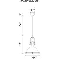 CWI Lighting 9602P16-1-187 Show 1 Light 16 inch Gray Chandelier Ceiling Light
