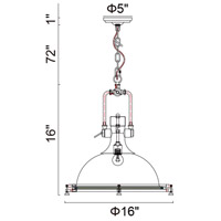 CWI Lighting 9602P16-1-604 Show 1 Light 18 inch Antique Bronze Chandelier Ceiling Light