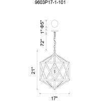 CWI Lighting 9603P17-1-101 Dia 1 Light 17 inch Black Pendant Ceiling Light