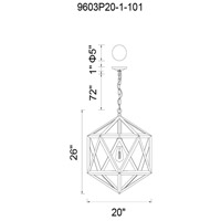 CWI Lighting 9603P20-1-101 Dia 1 Light 20 inch Black Chandelier Ceiling Light
