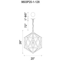 CWI Lighting 9603P20-1-128 Dia 1 Light 20 inch Antique Copper Down Pendant Ceiling Light