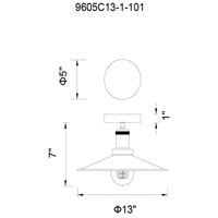 CWI Lighting 9605C13-1-101 Brave 1 Light 13 inch Black Flush Mount Ceiling Light