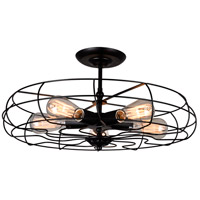 CWI Lighting 9606C19-5-101 Pamela 5 Light 19 inch Black Semi-Flush Mount Ceiling Light