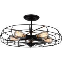 CWI Lighting 9606C19-5-101 Pamela 5 Light 19 inch Black Flush Mount Ceiling Light