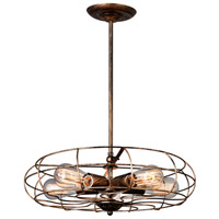 CWI Lighting 9606P18-5-128 Pamela 5 Light 18 inch Antique Copper Chandelier Ceiling Light