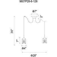 CWI Lighting 9607P28-6-101 Bray 6 Light 28 inch Black Multi Light Pendant Ceiling Light