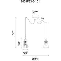 CWI Lighting 9609P33-6-101 Graham 6 Light 33 inch Black Chandelier Ceiling Light