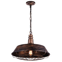 CWI Lighting 9611P18-1-128 Morgan 1 Light 18 inch Antique Copper Chandelier Ceiling Light