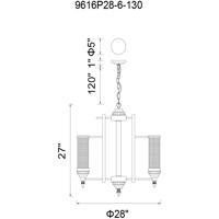 CWI Lighting 9616P28-6-130 Vivian 6 Light 28 inch Rust Pendant Ceiling Light