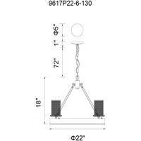 CWI Lighting 9617P22-6-130 Kenedi 6 Light 22 inch Rust Chandelier Ceiling Light