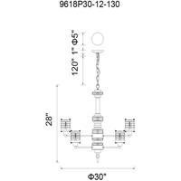 CWI Lighting 9618P30-12-130 Norma 12 Light 30 inch Rust Chandelier Ceiling Light