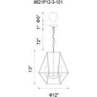 CWI Lighting 9621P12-3-101 Trenton 3 Light 12 inch Black Pendant Ceiling Light