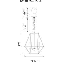 CWI Lighting 9621P17-4-101-A Trenton 4 Light 17 inch Black Chandelier Ceiling Light