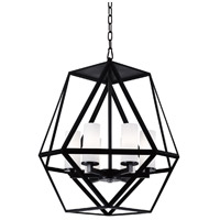 CWI Lighting 9621P22-6-101 Trenton 6 Light 22 inch Black Chandelier Ceiling Light