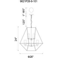 CWI Lighting 9621P26-9-101 Trenton 9 Light 26 inch Black Chandelier Ceiling Light