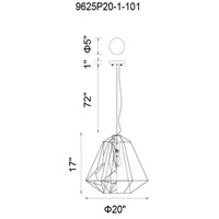 CWI Lighting 9625P20-1-101 Bagheera 1 Light 20 inch Black Down Pendant Ceiling Light