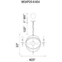 CWI Lighting 9634P25-6-101 Troy 6 Light 25 inch Black Chandelier Ceiling Light