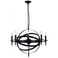 CWI Lighting 9634P28-8-101 Troy 8 Light 28 inch Black Chandelier Ceiling Light