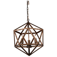 CWI Lighting 9641P17-3-128 Amazon 3 Light 17 inch Antique Forged Copper Chandelier Ceiling Light