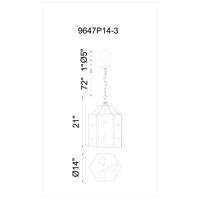 CWI Lighting 9647P14-3-101 Desire 3 Light 14 inch Black Pendant Ceiling Light