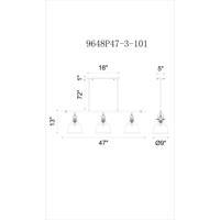 CWI Lighting 9649P47-3-COGNAC Tower Bell 3 Light 47 inch Cognac Chandelier Ceiling Light