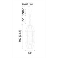 CWI Lighting 9668P13-6-S-101 Cell 6 Light 13 inch Black Pendant Ceiling Light