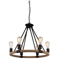 CWI Lighting 9671P25-6-101 Ganges 6 Light 25 inch Black Chandelier Ceiling Light