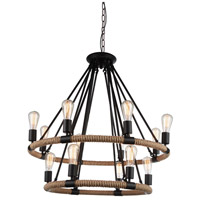 CWI Lighting 9671P33-14-101 Ganges 14 Light 33 inch Black Chandelier Ceiling Light