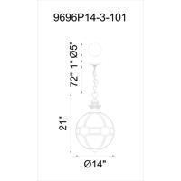 CWI Lighting 9696P14-3-101 Beas 3 Light 14 inch Black Pendant Ceiling Light