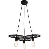 CWI Lighting 9699P25-3-101 Ravi 3 Light 25 inch Black Chandelier Ceiling Light