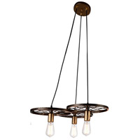 CWI Lighting 9699P25-3-194 Ravi 3 Light 25 inch Black and Gold Chandelier Ceiling Light