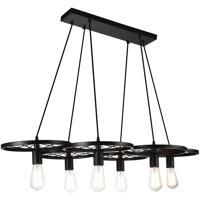 CWI Lighting 9699P41-6-101 Ravi 6 Light 24 inch Black Chandelier Ceiling Light