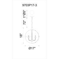 CWI Lighting 9703P17-3-130 Surma 3 Light 17 inch Rust Chandelier Ceiling Light