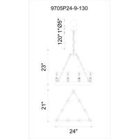 CWI Lighting 9705P24-9-130 Teesta 9 Light 24 inch Rust Chandelier Ceiling Light