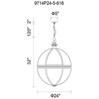 CWI Lighting 9714P24-5-616 Lune 5 Light 24 inch Bronze Chandelier Ceiling Light