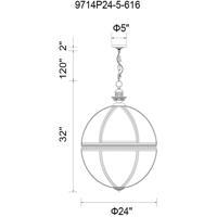 CWI Lighting 9714P24-5-616 Lune 5 Light 24 inch Bronze Chandelier Ceiling Light