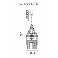 CWI Lighting 9717P24-12-187 Kala 12 Light 24 inch Gray Chandelier Ceiling Light