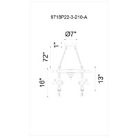 CWI Lighting 9718P22-3-210-A Manor 3 Light 22 inch Speckled Copper Chandelier Ceiling Light