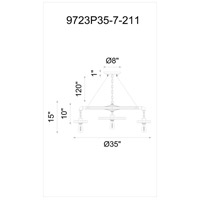 Prado 7 Light 35 inch Blackened Copper Chandelier Ceiling Light