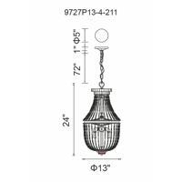CWI Lighting 9727P13-4-211 Kala 4 Light 13 inch Antique Bronze Mini Chandelier Ceiling Light