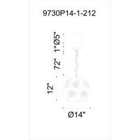 CWI Lighting 9730P14-1-212 Sasha 1 Light 14 inch Blackened Bronze Chandelier Ceiling Light