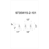 CWI Lighting 9735W15-2-101 Eustis 2 Light 15 inch Black and Gold Brass Wall Sconce Wall Light